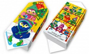 """Новогодняя коробка для конфет и подарков """"Совушки"""" с игрой"""