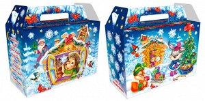 """Новогодняя коробка для конфет и подарков """"Снежинки-ежинки"""" с анимацией и игрой"""