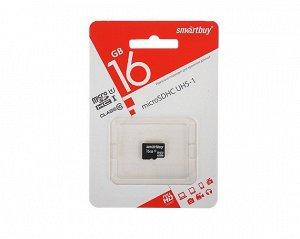 Карта памяти MicroSDHC SmartBuy 16GB cl10 UHS-I, SB16GBSDCL10-00