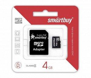 Карта памяти MicroSDHC SmartBuy 4GB cl4 + SD, SB4GBSDCL4-01