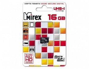 Карта памяти MicroSDHC MIREX 16GB cl10 UHS-I, 13612-MCSUHS16 recommended