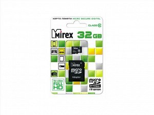 Карта памяти MicroSDHC MIREX 32GB cl10 + SD, 13613-AD10SD32 recommended