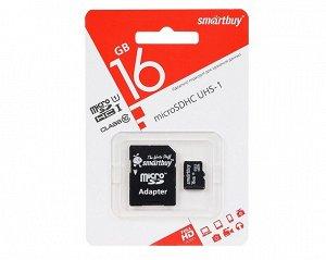 Карта памяти MicroSDHC SmartBuy 16GB cl10 UHS-I + SD, SB16GBSDCL10-01