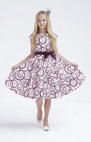 НГ 20 Платье для девочки Белый+бордовый
