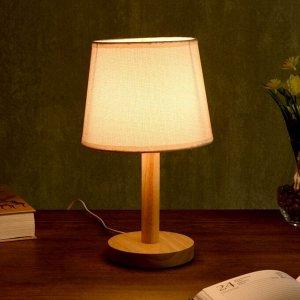 """Лампа настольная """"Эко"""" 1х40Вт Е27 светлое дерево-бежевый 18х18х29.5 см."""