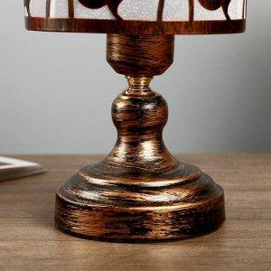 """Лампа настольная """"Антерос"""" 1х40Вт Е27 220В патинированная бронза 14х14х27 см."""