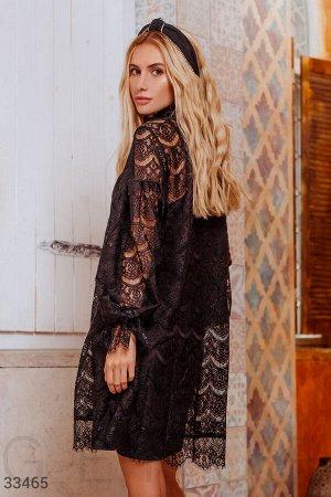 Платье Утонченное вечернее платье: платье-основа на тонких регулируемых бретелях, кружевное платье в стиле oversize с воротником-стойкой, длинным объемным рукавом на эластичной манжете и планка с одно