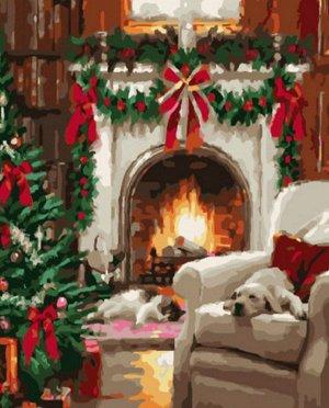 """Набор живописи по номерам 40х50см """"Рождественский очаг"""""""