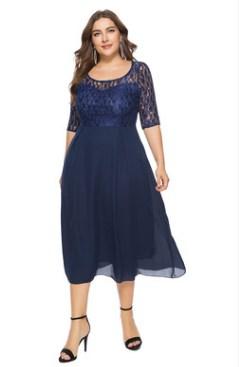 Платье Платье, оформленное округлым вырезом горловины, полиэстер. Размер (обхват груди, обхват талии, длина изделия, см): XL (106,92,121), 2XL (112,98,121), 3XL (118,104,121), 4XL (124,110,123), 5XL (