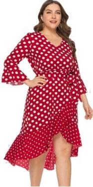 Платье Платье, оформленное V-образным вырезом горловины, полиэстер. Размер (обхват груди, обхват талии, длина изделия, см): XL (110,104,130), 2XL (116,110,132), 3XL (122,116,134), 4XL (128,122,136), 5