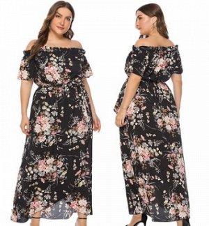 Платье Платье, оформленное открытыми плечами, полиэстер. Размер (обхват груди, обхват талии, длина изделия, см): XL (123,80,126), 2XL (129,84,128), 3XL (135,88,130), 4XL (141,92,132), 5XL (147,96,134)