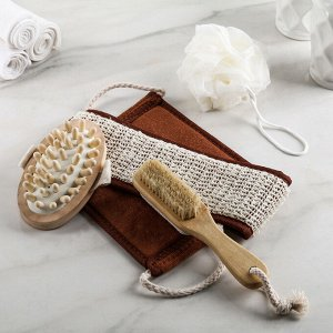 Набор банный, 4 предмета: щётка с пемзой, 2 мочалки, массажёр, цвет МИКС