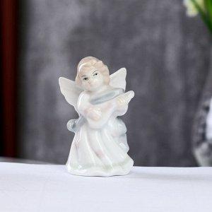 """Сувенир керамика """"Ангел с лютней"""" цветной 8х4х4,5 см"""
