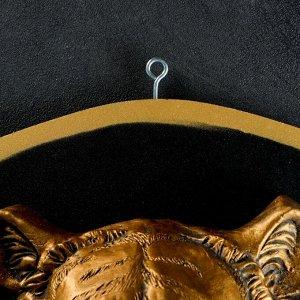 """Панно """"Голова тигра"""" бронза, щит черный 40см"""