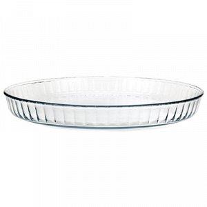 """Форма стеклянная для запекания """"Рифленая"""" 2л, круглая, д30см h3,7см термостекло, в цветной коробке (Китай)"""