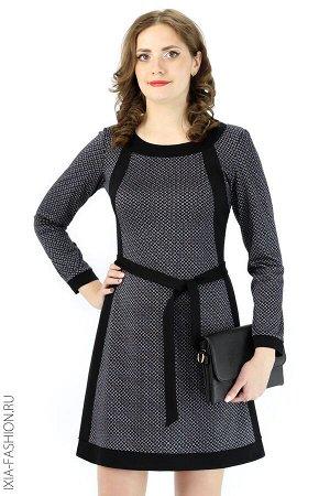 Платье, мелкий узор с черным