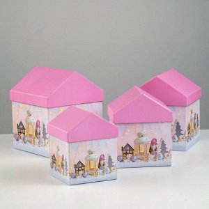 "Набор коробок 4 в 1 ""Зимний вечер"", 15 х 15 х 18 - 10,5 х 10,5 х 13 см"