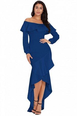 Синее платье-русалка с воланами и асимметричной юбкой
