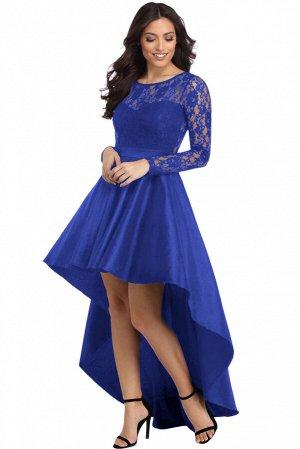 Синее вечернее платье с кружевным верхом и удлиненной сзади юбкой со шлейфом