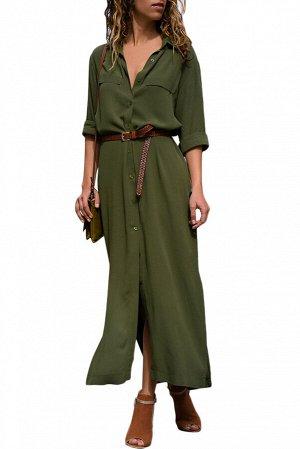 Зеленое платье-рубашка с поясом и разрезами по бокам