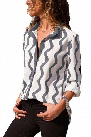 Белая блуза в серую извилистую полоску