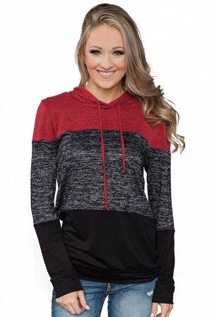 Черно-красный пуловер-худи блочной расцветки