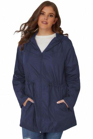 Темно-синяя куртка-парка с капюшоном и карманами