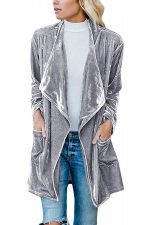 Серый бархатный жакет с широкими лацканами и карманами