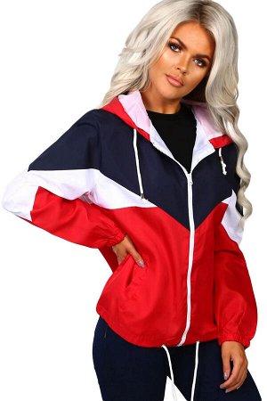 Красно-бело-черная спортивная куртка с капюшоном