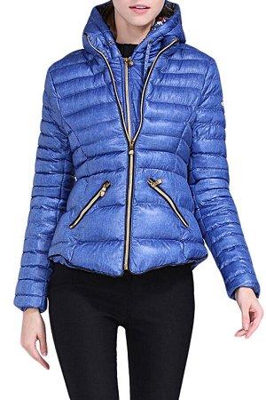 Синяя приталенная куртка с капюшоном и на молнии