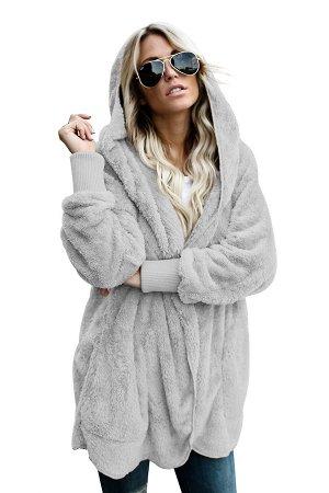 Серая флисовая куртка-худи в стиле оверсайз без застежки и с карманами