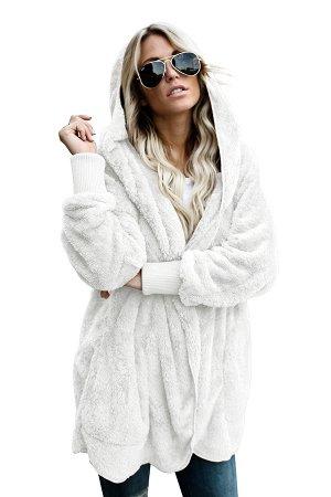 Белая флисовая куртка-худи в стиле оверсайз без застежки и с карманами