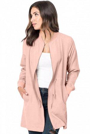 Розовый тренч с карманами и шнурком в поясе