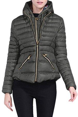 Темно-серая приталенная куртка с капюшоном и на молнии