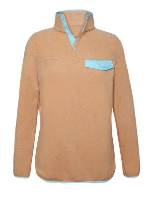 Бежевый флисовый пуловер с голубой отделкой и высоким воротом на кнопках