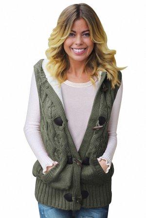 Защитно-зеленый вязаный жилет с крупными пуговицами, карманами и капюшоном