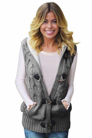 Серый вязаный жилет с крупными пуговицами, карманами и капюшоном