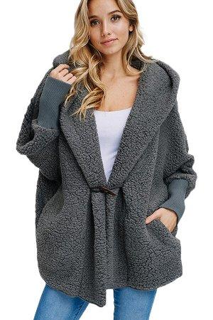 Серый пушистый объемный жакет с капюшоном и карманами