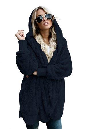 Темно-синяя флисовая куртка-худи в стиле оверсайз без застежки и с карманами