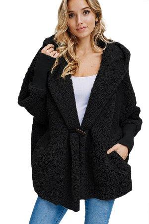Черный пушистый объемный жакет с капюшоном и карманами