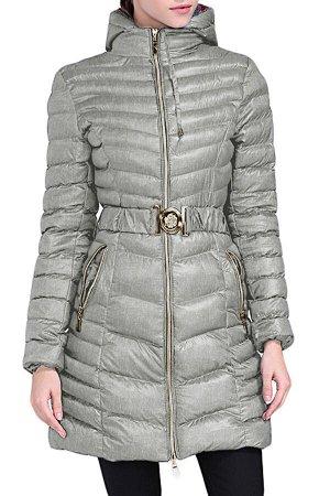 Серая удлиненная зимняя куртка с поясом и капюшоном
