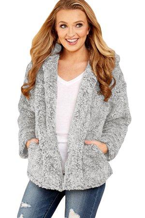 Серая меховая куртка-худи на молнии и с карманами