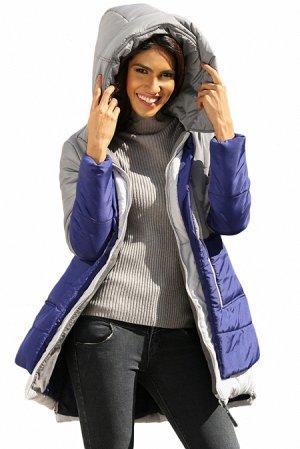 Серо-синяя куртка блочной расцветки с капюшоном и карманами