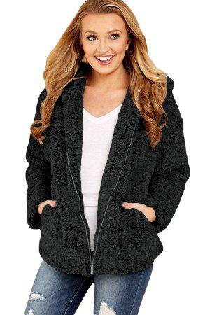 Черная меховая куртка-худи на молнии и с карманами