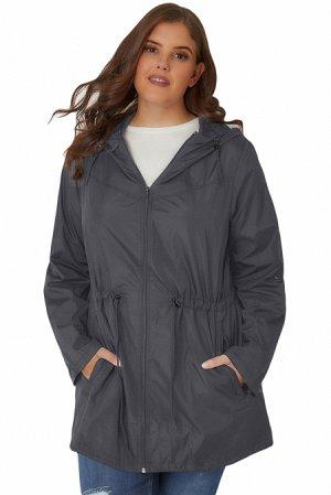 Темно-серая куртка-парка с капюшоном и карманами