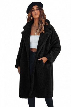 Черное пушистое пальто с отложным воротником и карманами