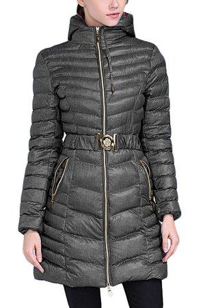 Темно-серая удлиненная зимняя куртка с поясом и капюшоном