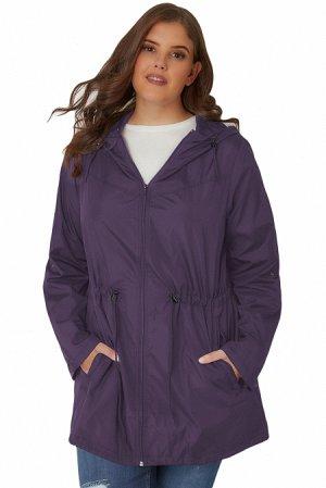 Фиолетовая куртка-парка с капюшоном и карманами