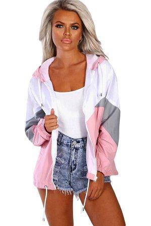 Розово-серо-белая спортивная куртка с капюшоном