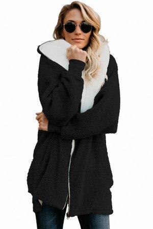 Черный пушистый жакет с капюшоном и застежкой-молнией